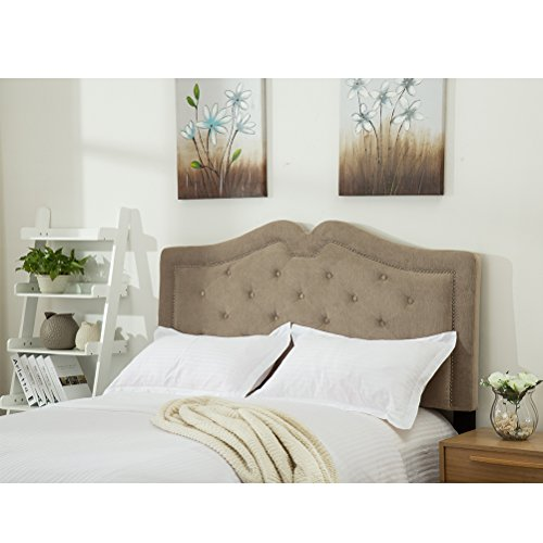 Haobo Upholstered Velvet Tufted Headboards for Queen/Full Size Beds with Solid Wood Legs and Nails Trim, Taupe