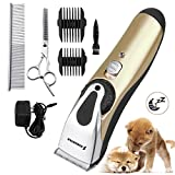 Kingstar Professional Cordless Pet Grooming Clippers Kit, Rechargeable Low Noise Electric Dog Hair Remover Cutter Pets Clipper Cat Shaver Trimming Set for Small Medium Large Dogs Cats