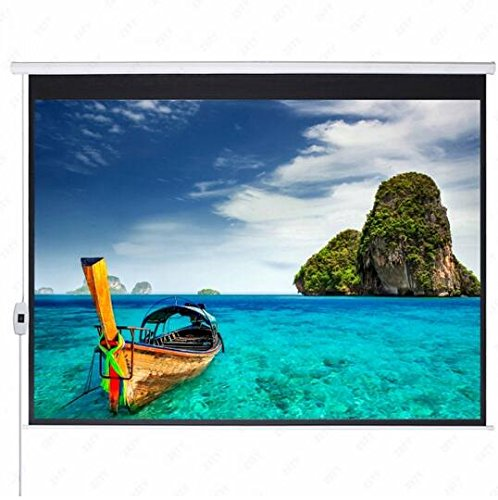 100'' 16:9 87'' x 49'' Home Theater Projection Screens Viewing Area Motorized Projector Screen Matte White by RockTric