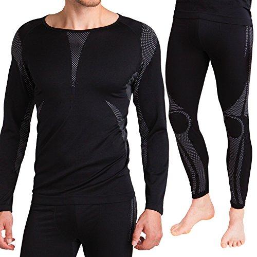 Herren Ski-, Thermo- & Funktionswäsche Set (Hemd + Hose) ohne störende Nähte von celodoro Schwarz / Grau Größe L / XL
