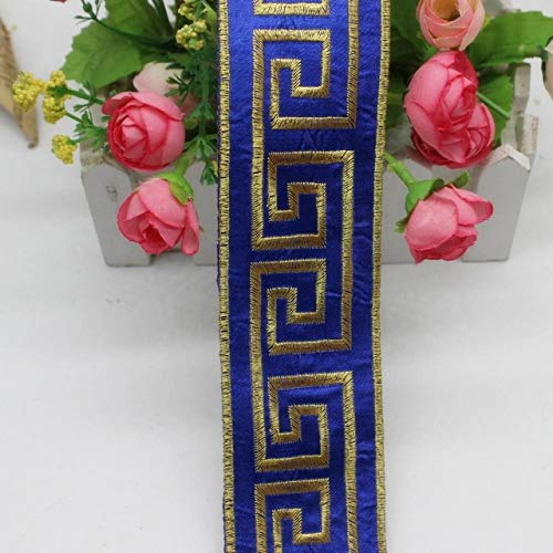 (Lace Crafts - 6 Yds/Lot Golden Embroidery Braid Lace Iron On Band Trims Gold and Silver Metallic Applique 5cm - (Color: Royal Blue))