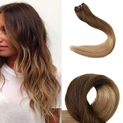 Full Shine 16 Inch Ombre Hair Extensions #4 Medium Brown Fading to #27 Honey Blonde Hair Bundles Remy Hair Extensions 100g Human Hair Weft Dip Dyed Hair No Clips No Tapes Weave Hair Extensions Sew ins (The Best Weave Hair For Sew Ins)
