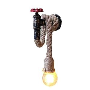Hines Applique Murale Chanvre Corde Chandelier Conduite d'eau Luminaire Industriel Rétro Lampe murale créative lampe 1 Douille E27 Parfait Eclairage Decoratif
