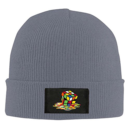 Adult's Rubiks Cube Melting Cube Bing Bang Theory Elastic Knitted Beanie Cap Winter Outdoor Warm Skull Hats One Size Asphalt -