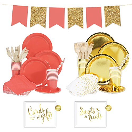 Andaz Press Complete 140-Piece Tableware Kit for 16 Guests, Coral and Gold, Includes Plates, Cups, Napkins, Spoons, Forks, Straws, Party Signs, Hanging Pennant Banner Decorations, 1-Set