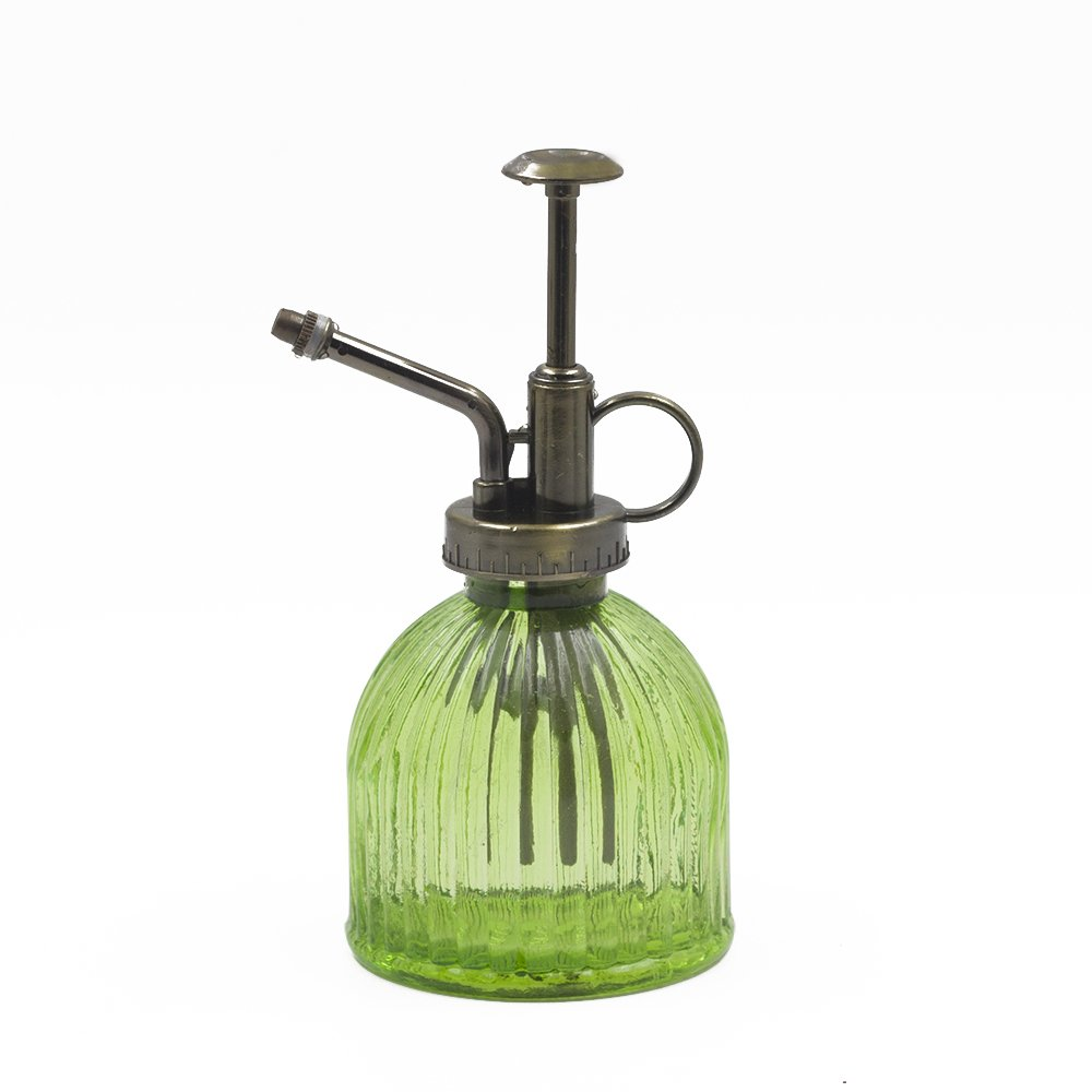 Plant Mister, Ebristar Glass Watering Spray Bottle with Bronze Top Pump 6.5'' Tall Decorative Mister for Plants and Flowers Small Watering Can for Indoor Potted Plants & Terrariums - Green