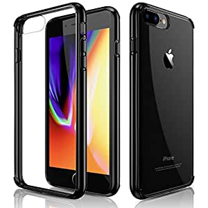 iPhone 7 Plus Case, iPhone 8 Plus Case, Clear Slim Crystal Hybrid Anti-Scratch Transparent Hard Back Cover Soft Flexible Black Bumper Shockproof Cases for Apple iPhone 7 plus & iPhone 8 plus (2017)