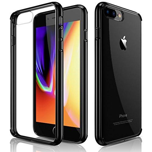 LOHASIC iPhone 7 Plus Case, iPhone 8 Plus Case, Clear Slim Crystal Hybrid Anti-Scratch Transparent Hard Back Cover Soft Flexible Black Bumper Shockproof Cases (2017)