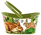 Michel Design Works Decorative Tin Oval Basket, Large, Garden Bunny