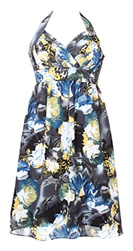 MY EVENING DRESS - Vestido - cuello hálter - Floral - Sin mangas - para mujer Yellow and Black Flowers