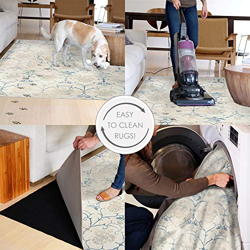 RUGGABLE Washable Stain Resistant Indoor/Outdoor, Kids, Pets, and Dog Friendly Area Rug 5'x7' Amara Grey by RUGGABLE (Image #6)