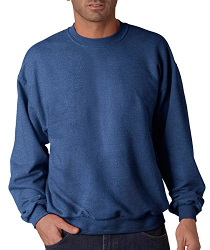 (Jerzees Men's Ribbed Collar With Spandex Sweatshirt, 4XL, Vintage Heather Blue)