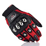 Alloy Steel Knuckle Motorcycle Motorbike Powersports Racing Tactical Paintball Gloves (Red, XL)