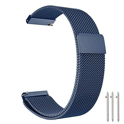 Baoking Compatible with 20mm Stainless Steel Loop Adjustable Wrist Band, Replacement for Garmin vivoactive 3/Gear Sport/Galaxy Watch 42mm Smart Watch Strap (Navy Blue 0, 20mm)