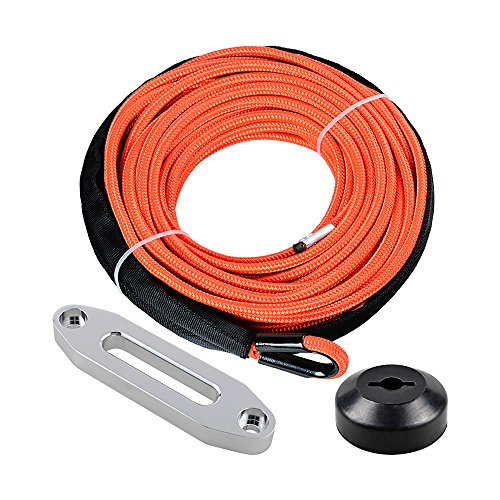 1/4 x 50' Synthetic Winch Line Cable Rope 7000+ LBs w/39' Rock Guard Sheath ATV UTV SUV Off-Road Ramsey (Full Set, - Line Chevrolet Full
