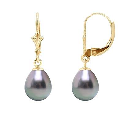 les clients d'abord meilleur prix grande remise de 2019 Pearls & Colors - Boucles d'oreilles pendantes - Or jaune 9 cts - Perle de  culture de Tahiti