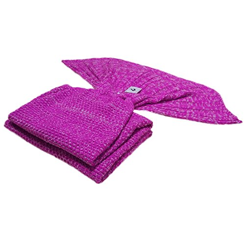 Kpblis Knitted Mermaid Blanket Tail for Kids and Adults,Super Soft and Fashion Sleeping Bags 71-35-inches(Pink)