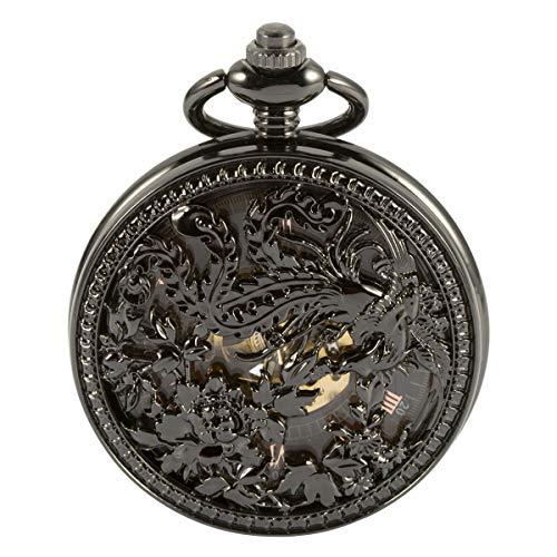 Pocket Watch - ManChDa Automatic Mechanical Skeleton Pocket Watch Black Hollow Phoenix Case Men Roman Numerals (Automatic Watch Pocket Skeleton)