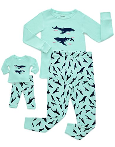 Price comparison product image Leveret Fish Matching Doll & Girl 2 Piece Pajama Set 100% Cotton 2 Years