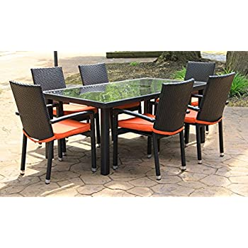 7 Piece Black Resin Wicker Outdoor Furniture Patio Dining Set   Orange  Cushions Part 49