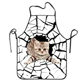 The Cat In The Cave Neck Bib Apron For Women And Men - Adjustable Neck Strap - Restaurant Home Kitchen Apron Bib For Cooking, Grill And Baking, Crafting, Gardening, BBQ