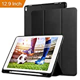 Case for ipad Pro 12.9 with Stand and Pencil Holder, PU Leather Smart Cover Magnetic Trifold Stand Auto Wake up/Sleep for ipad Pro 12.9 2017 2018(Black)