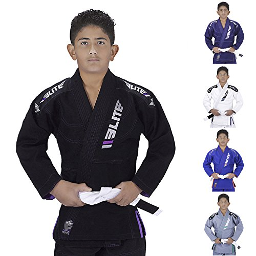 Elite Sports IBJJF Ultra Light BJJ Brazilian Jiu Jitsu Gi for Kids with Preshrunk Fabric and Free Belt, C1, Black