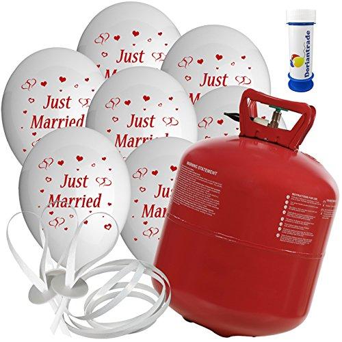 50 Luftballons Ø 25 cm mit Helium Ballon Gas Motiv Just Married Hochzeit Valentinstag Komplettset + Gratis Doriantrade Seifenblasen (Weiß)