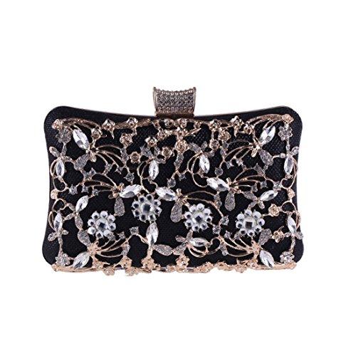809ca9ec2c Donna : Borse firmate 2018 Trend Hungrybubble Borsa da donna con frizione Borsa  da banchetto Borsa da sera con borchie e diamanti (Color : Silver) Black