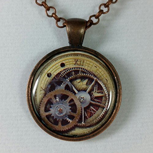 Pendant Resin Picture Pendant (Steampunk Resin Art Picture Pendant Necklace Round Gears and Watch Face)