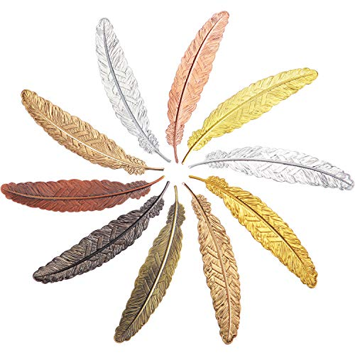 Tatuo 10 Pieces Feather Metal Bookmarks Feather Bookmarks Feather Shaped Bookmarks for Adults and Kids, Simple Elegant and Thin (Multicolor B)