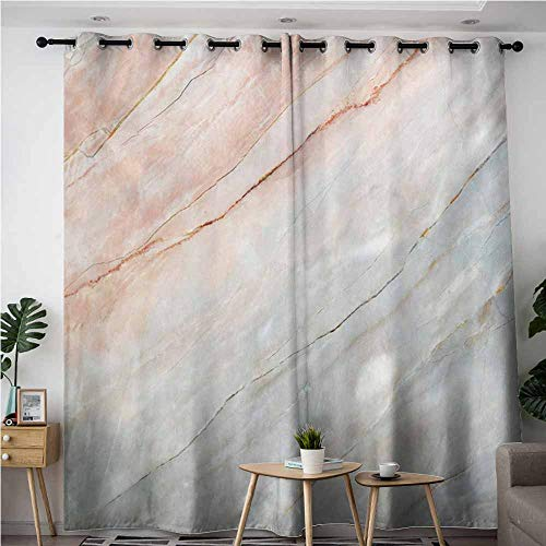 Willsd Curtains for Living Room,Marble Onyx Stone Textured Natural Featured Authentic Scratches Artful Illustration,Energy Efficient, Room Darkening,W120x96L,Peach Pale Grey