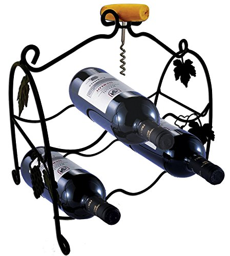 6 Bottle Metal Wine Rack with Wine Bottle Opener Corkscrew – Stylish Grapevine Design Perfect for Floor, Cabinet, Bar Cart, Countertop – Timeless Rustic Home Décor Wine Storage by Nova House Solutions - Metal Grapevine Wine Bottle Holder