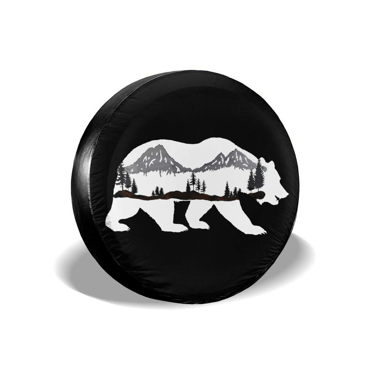 Hiking Bear Mountains Spare Tire Cover Waterproof Universal Spare Wheel Tire Cover Fit for Jeep Trailer RV SUV 14 15 16 17