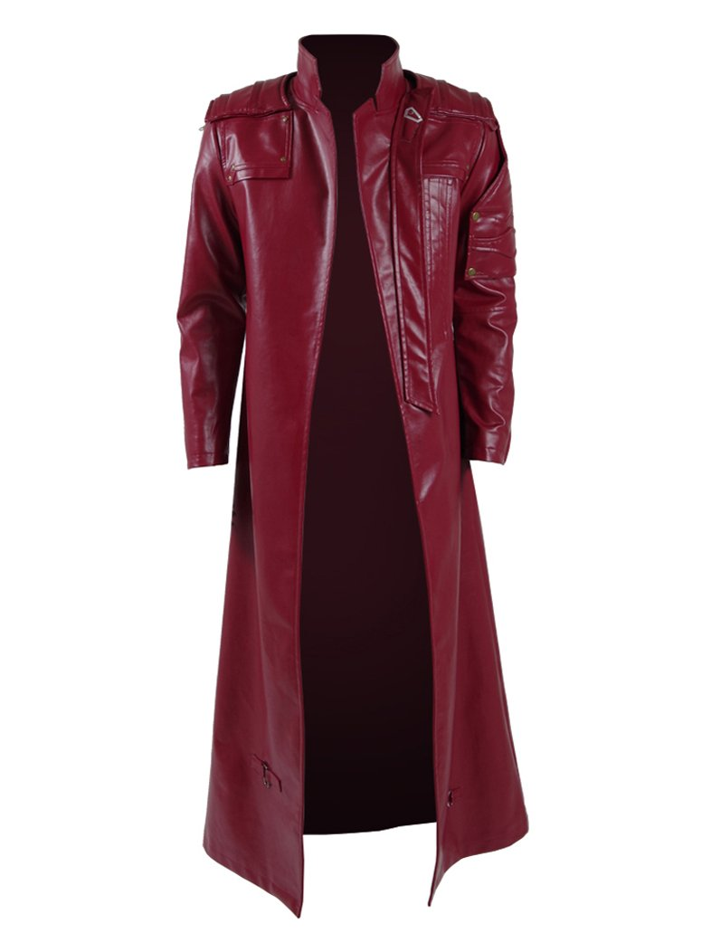 Xiao Maomi Mens Cosplay Costume PU Pleather Trench Coat Red Jacket (XL, Red)