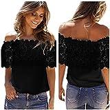 Howstar Women's T-Shirt Off Shoulder Blouse Lace Tops for Women Elegant Party Shirts (XL, Black)