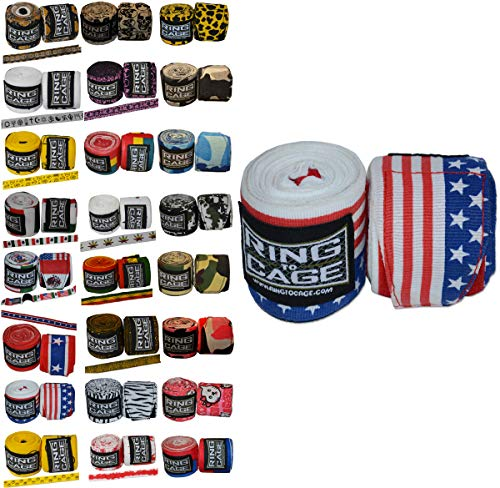 Ring to Cage Handwraps Mexican Style Stretchable- Patterned 180″ Long – 23 Color Patterns