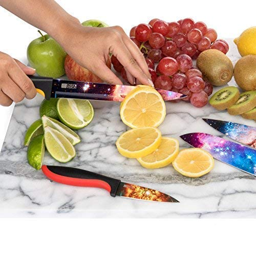 Cosmos Kitchen Knife Set in Gift Box - Unique Gifts For Men and For Women - 6-Piece Colorful Cooking Chef Knives Set - Best Xmas Gift, Birthday, Anniversary or Appreciation Present Idea - Regalos by Chef's Vision (Image #8)