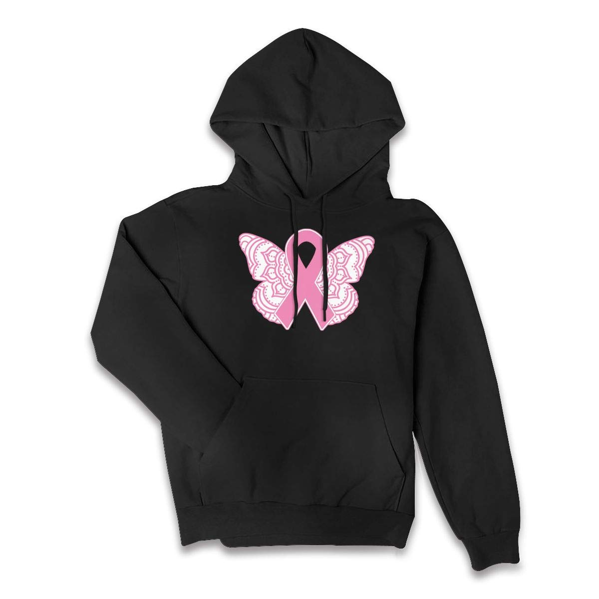 Breast Cancer Awareness Ribbon Butterfly Ladies Fashion Pullover Hoodie Sweatshirt with Pockets S-2XL