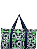 N. Gil All Purpose Open Top 23'' Classic Extra Large Utility Tote Bag 2 (Geo Navy Green)