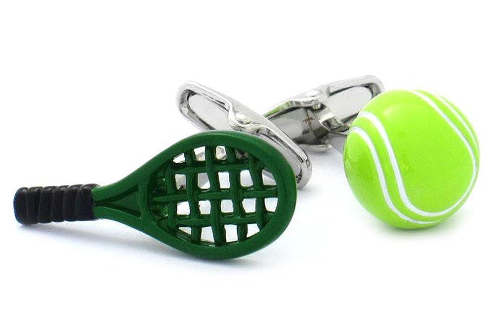 Gemelos pelota de tenis raqueta verde plateado + xidan negro ...