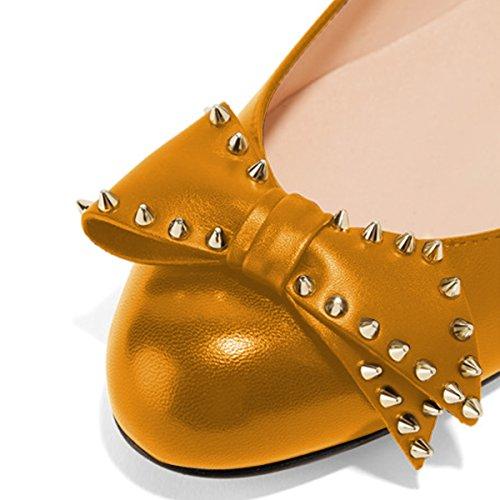 Ballerine Xyd Donna A Punta Tonda Slip On Rivetto Scarpe Tacco Basso Nascoste Con Archi Arancioni