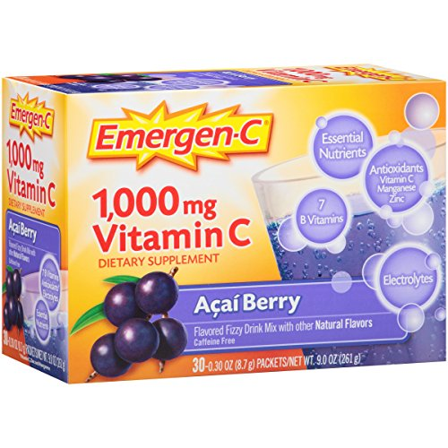 Emergen-C (30 Count, Acai-Berry Flavor, 1 Month Supply) Dietary Supplement Fizzy Drink Mix with 1000mg Vitamin C, 0.30 Ounce Packets, Caffeine Free