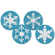 "Epic 76-240 4"" Blue & White Round Snowflake Beaded Coasters Set of 4"