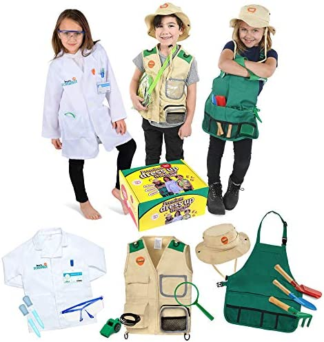 Born Toys Premium dress up Trunk set for ages 3-7-Scientist-explorer-gardening all costumes include accessories and are washable