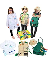 Premium dress up Trunk set for ages 3-7-Scientist-explorer-gardening all costumes include accessories and are washable