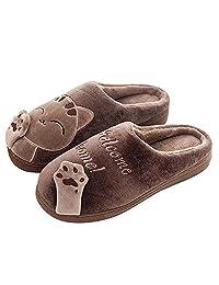 QZBAOSHU Slippers for Women Kids Winter Comfort Memory Foam Cat Kitty Cartoon Slippers Indoor