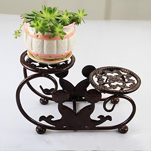 WANGXIAOLIN Iron Flower Stand Window Sill Indoor Multi-Layer Desktop Fleshy Mini Flower Stand (Color : Bronze) by WANGXIAOLINhuajia