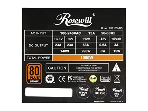 Rosewill Gaming Power Supply / PSU, 1000 Watt (1000W) 80 PLUS Bronze Certified PSU with Silent and Blue LED 135mm Fan and Auto Fan Speed Control, Semi-modular Design, RBR-1000MS by Rosewill (Image #5)