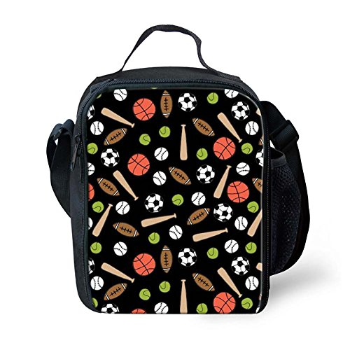 Coloranimal School Office Supplies Thermal Insulated Lunch Tote Bag Cool Basketball Baseball Soccer Puzzle Cooler Warm Lunchbox for Kindergarden Baby Box (Tin Puzzle Baseball)